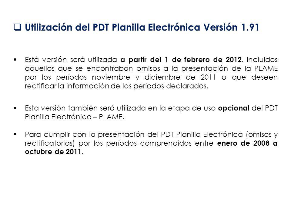 Utilización del PDT Planilla Electrónica Versión 1.91