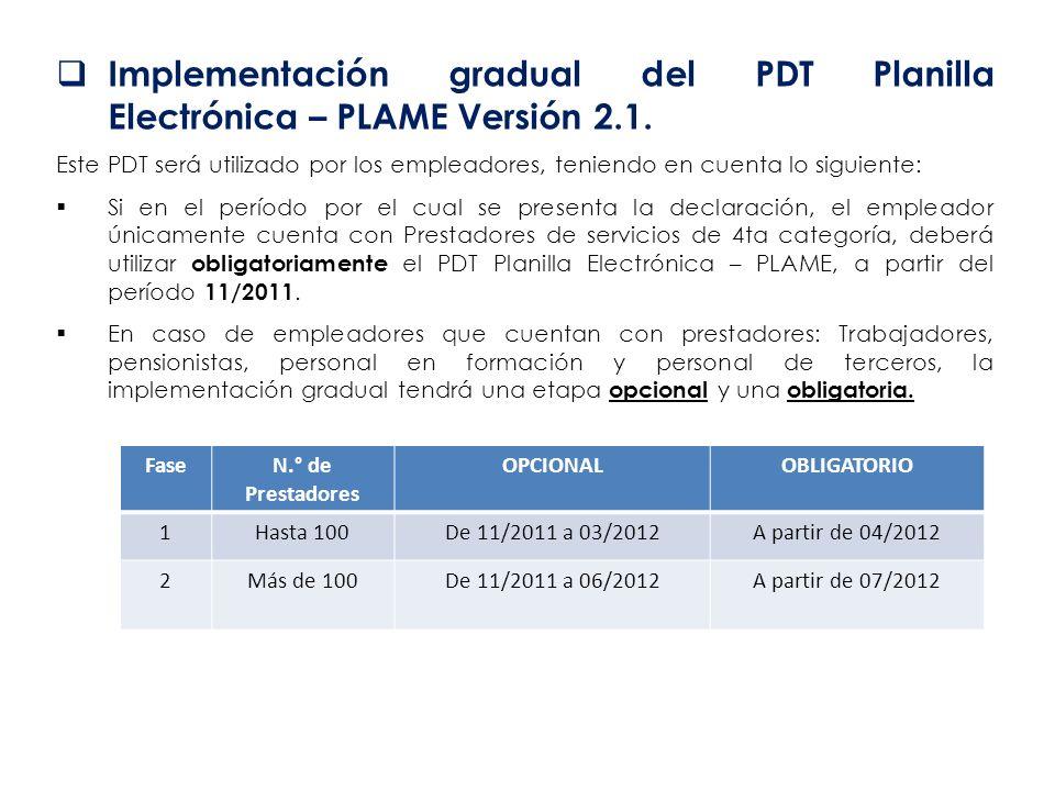 Implementación gradual del PDT Planilla Electrónica – PLAME Versión 2