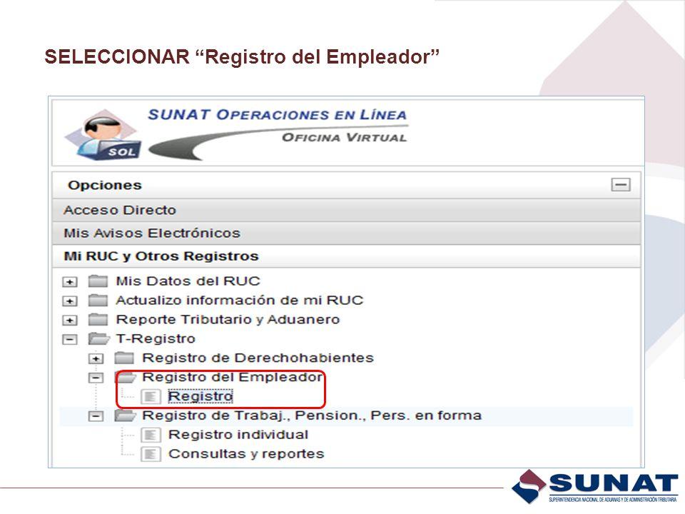 SELECCIONAR Registro del Empleador