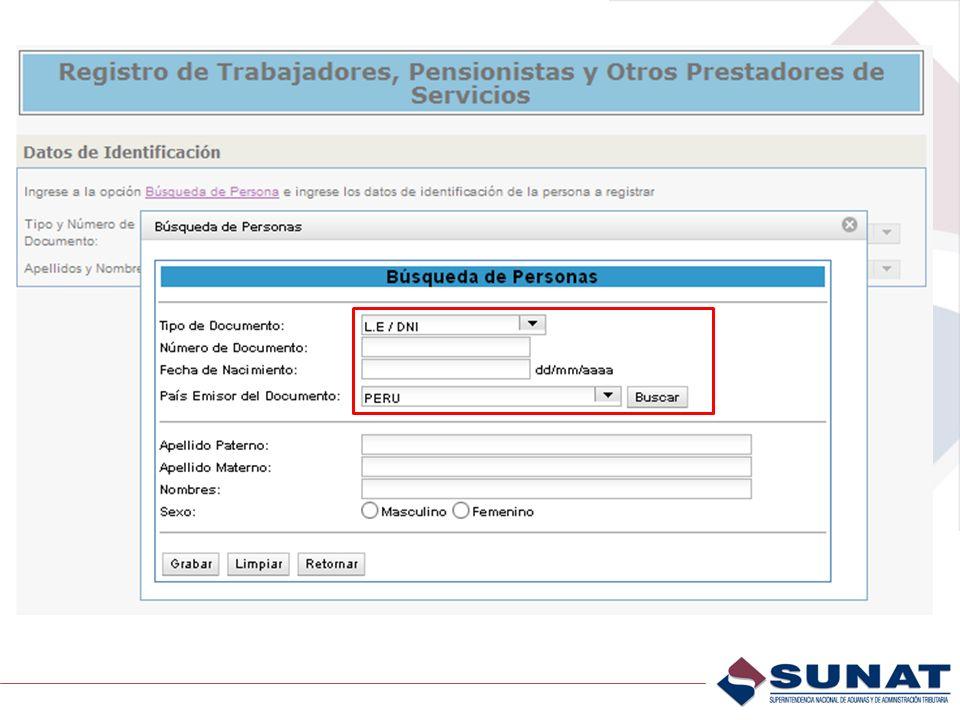 Al dar Búsqueda de Personas aparece esta pantalla en donde se debe consignar el Tipo y N° de Documentoy fecha de Nacimiento como medio de verificación