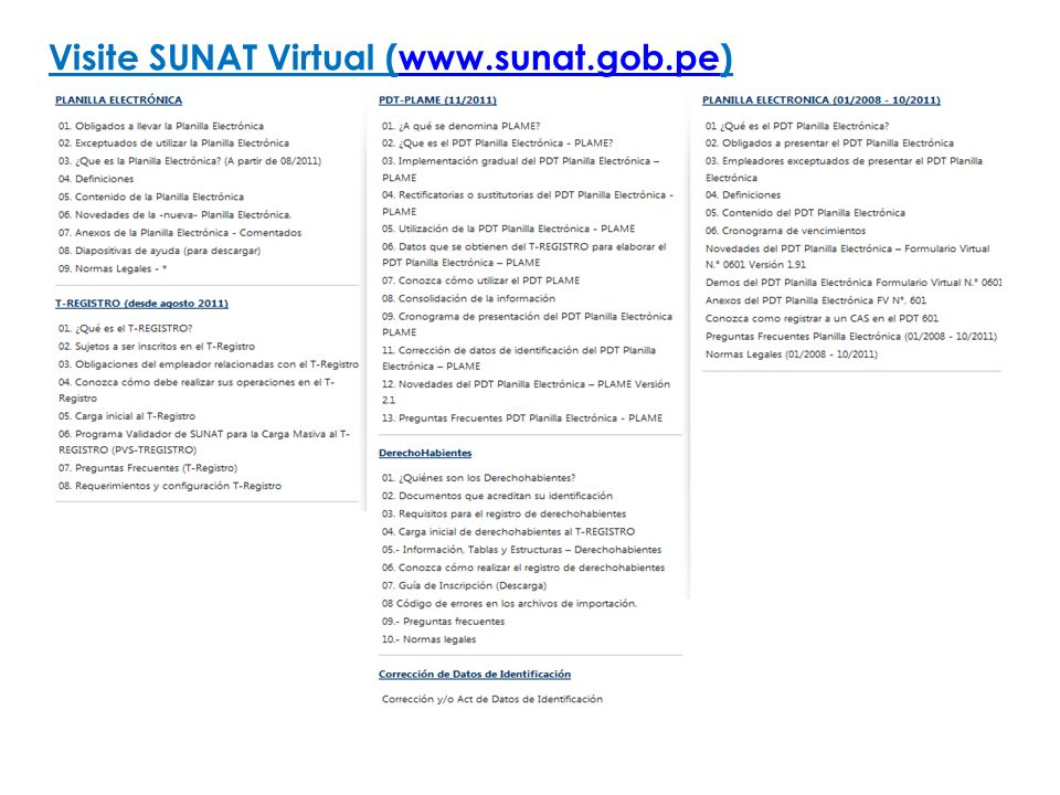 Visite SUNAT Virtual (www.sunat.gob.pe)