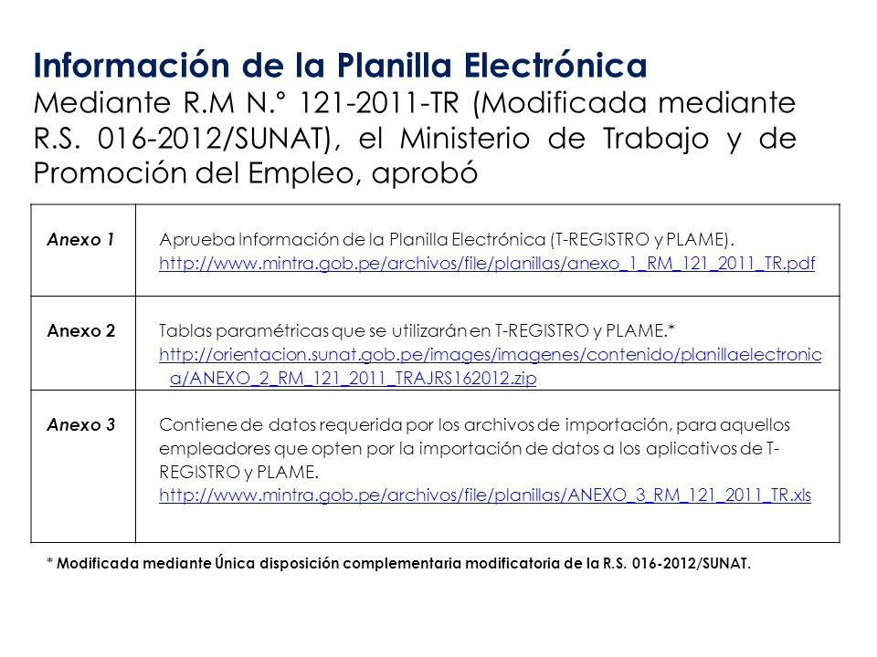 Información de la Planilla Electrónica