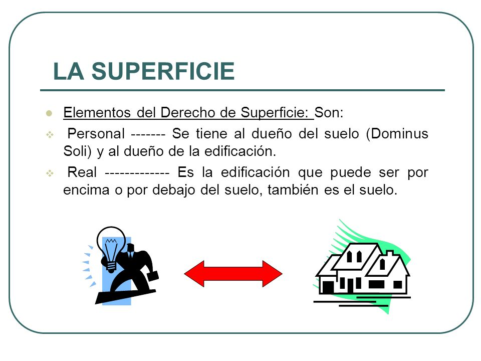 LA SUPERFICIE Elementos del Derecho de Superficie: Son: