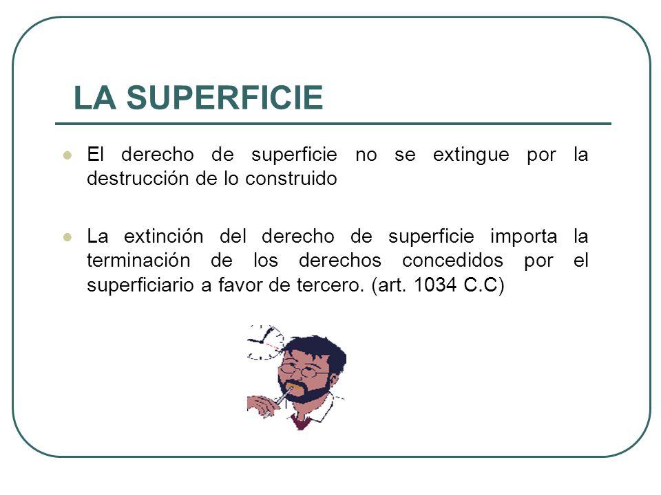 LA SUPERFICIE El derecho de superficie no se extingue por la destrucción de lo construido.