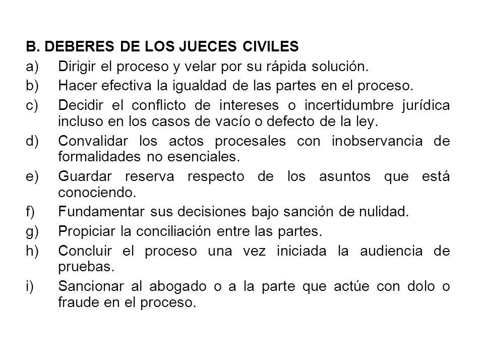 B. DEBERES DE LOS JUECES CIVILES