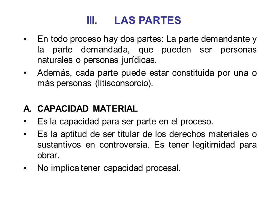 III. LAS PARTES En todo proceso hay dos partes: La parte demandante y la parte demandada, que pueden ser personas naturales o personas jurídicas.