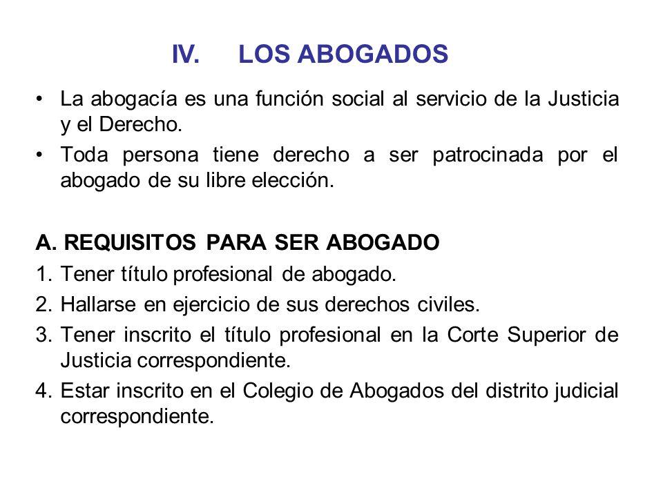 IV. LOS ABOGADOS A. REQUISITOS PARA SER ABOGADO