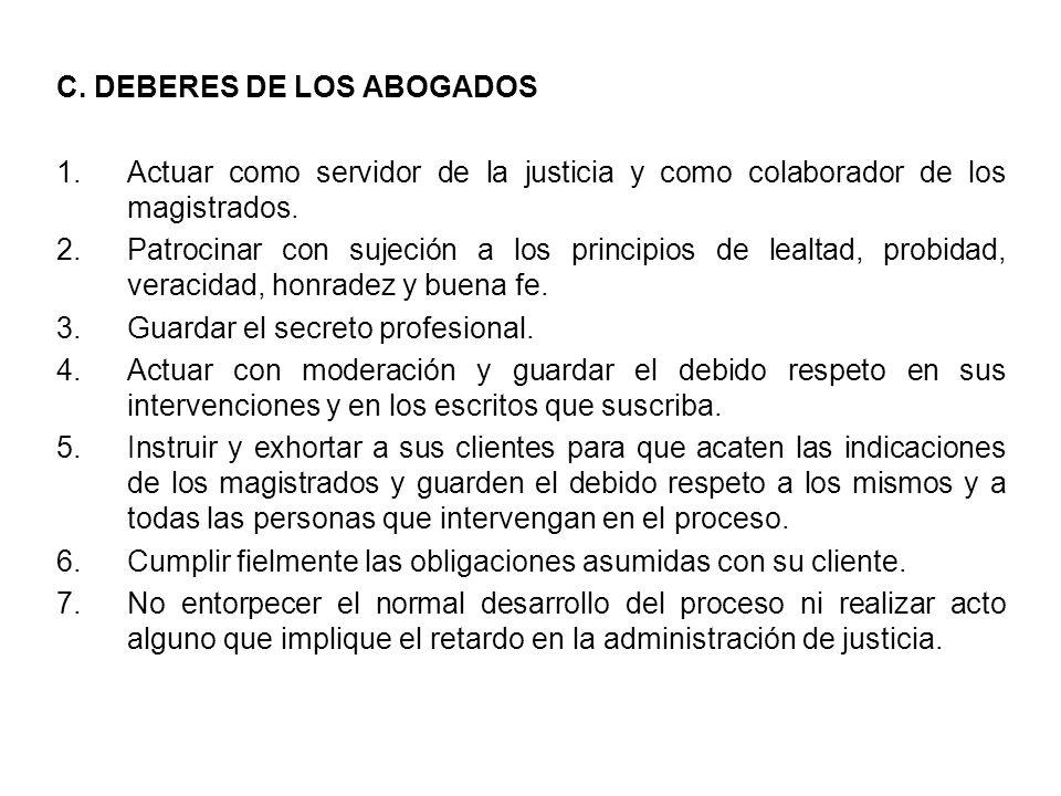 C. DEBERES DE LOS ABOGADOS