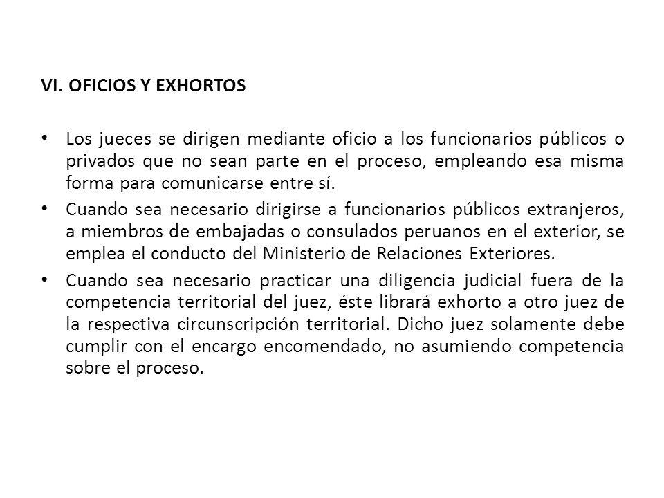VI. OFICIOS Y EXHORTOS