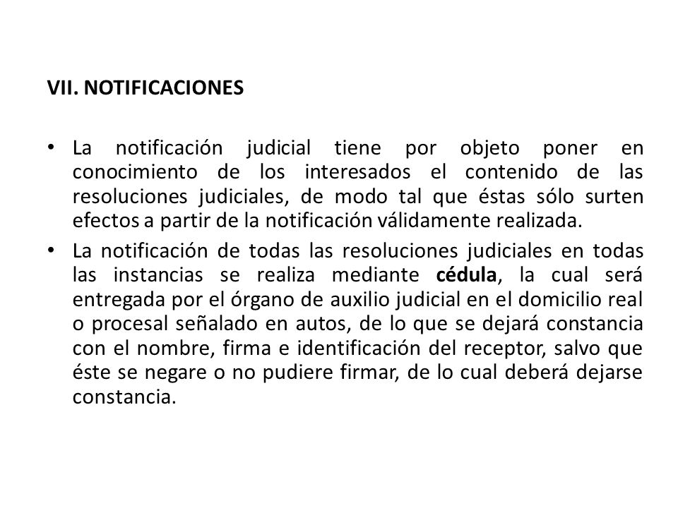 VII. NOTIFICACIONES