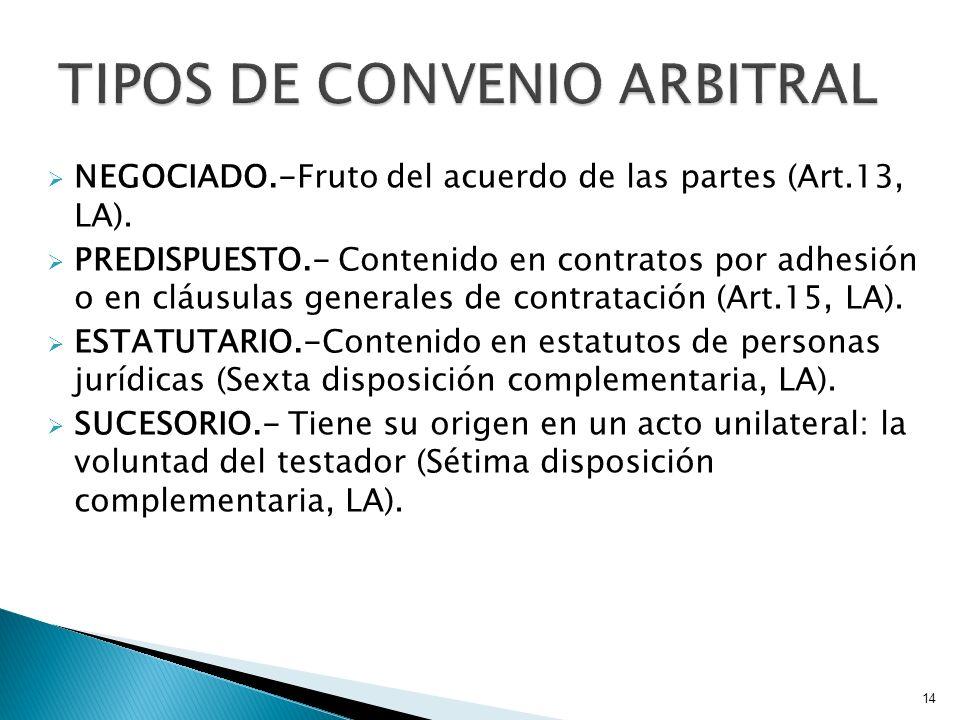 TIPOS DE CONVENIO ARBITRAL