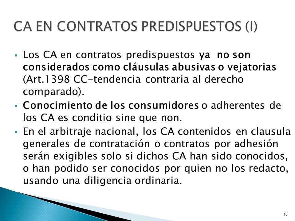 CA EN CONTRATOS PREDISPUESTOS (I)