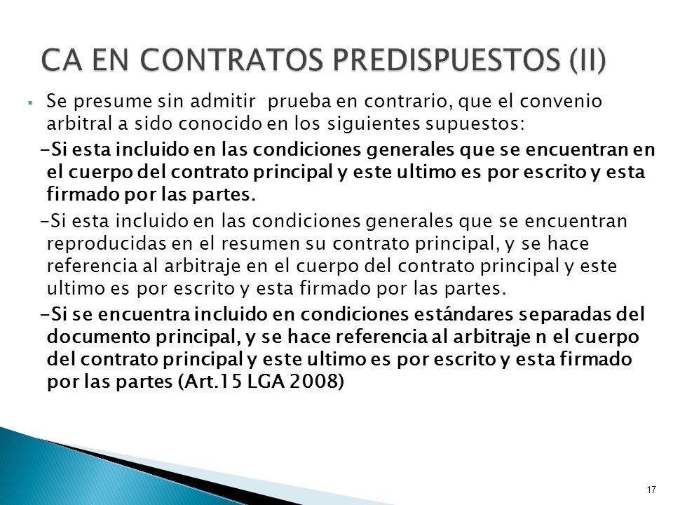 CA EN CONTRATOS PREDISPUESTOS (II)