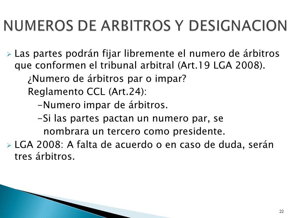 NUMEROS DE ARBITROS Y DESIGNACION