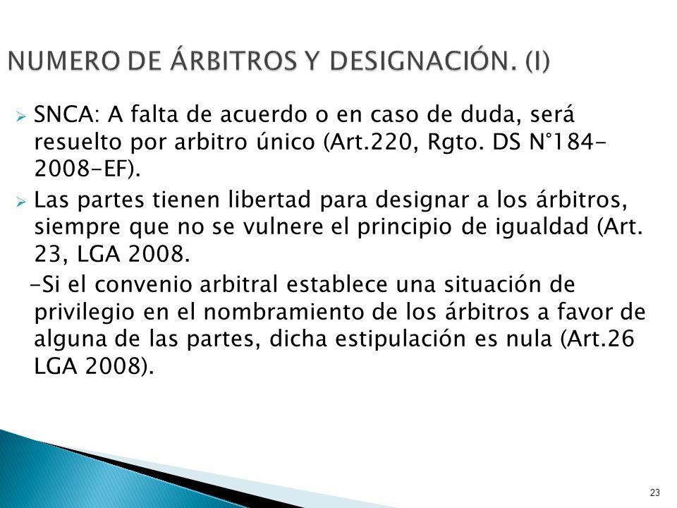 NUMERO DE ÁRBITROS Y DESIGNACIÓN. (I)