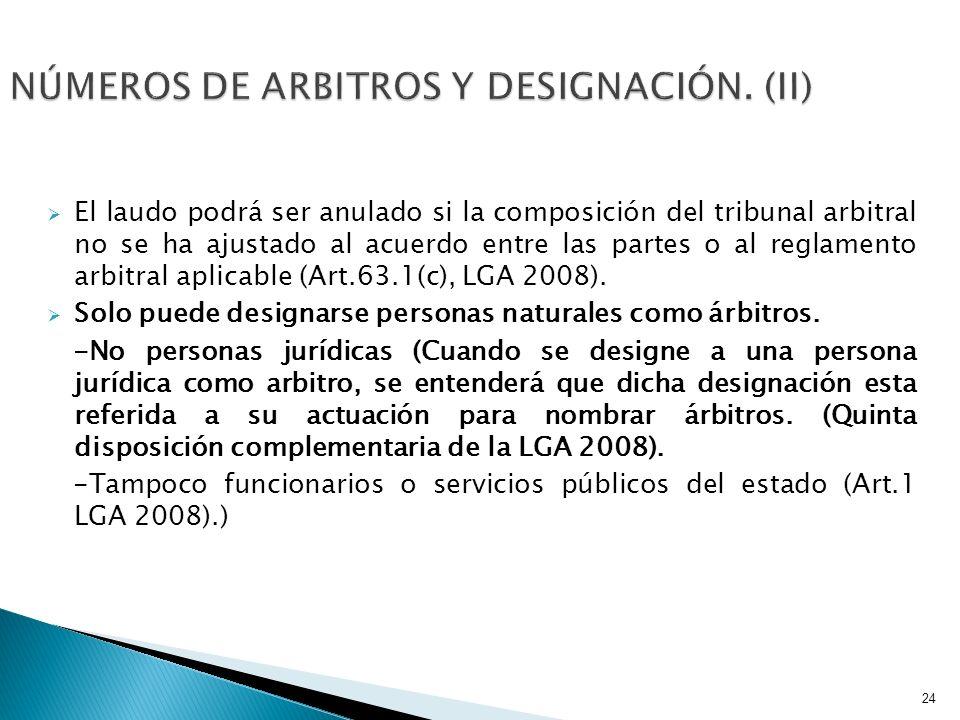 NÚMEROS DE ARBITROS Y DESIGNACIÓN. (II)