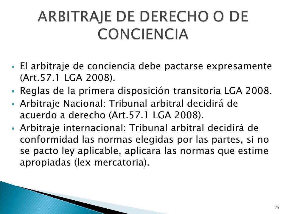 ARBITRAJE DE DERECHO O DE CONCIENCIA