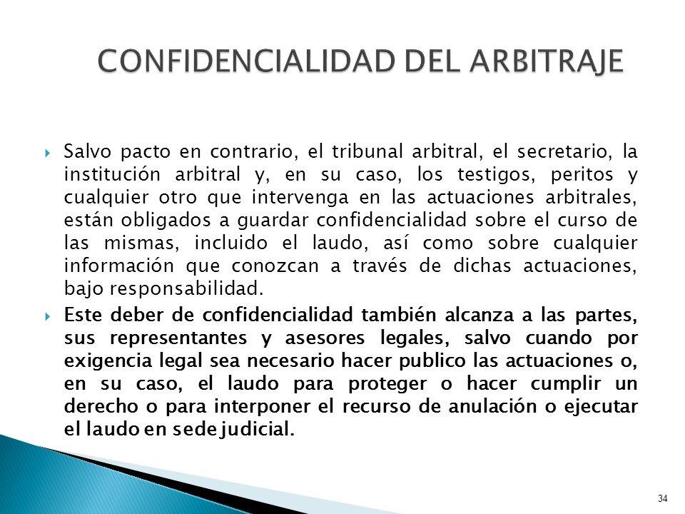 CONFIDENCIALIDAD DEL ARBITRAJE