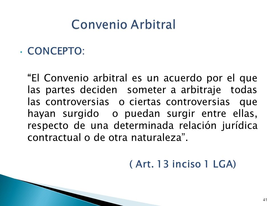 Convenio Arbitral CONCEPTO: