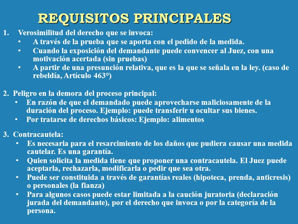 REQUISITOS PRINCIPALES