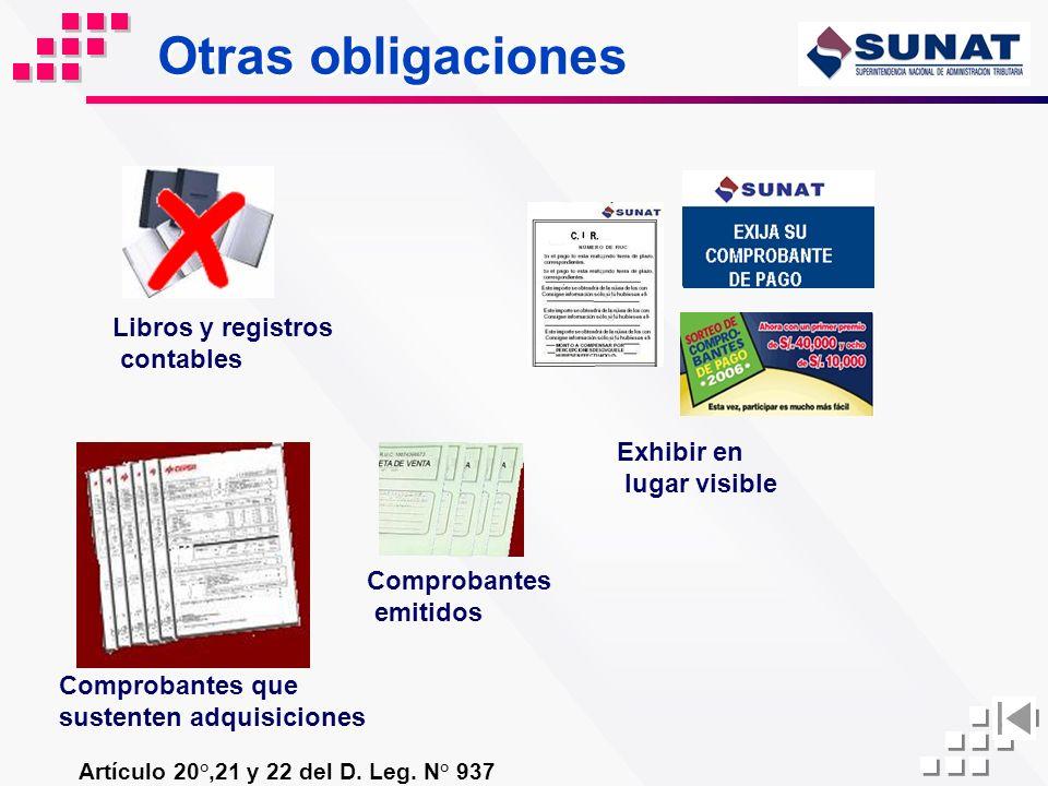 Otras obligaciones Libros y registros contables Exhibir en