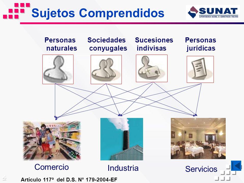 Sujetos Comprendidos Comercio Industria Servicios Personas naturales