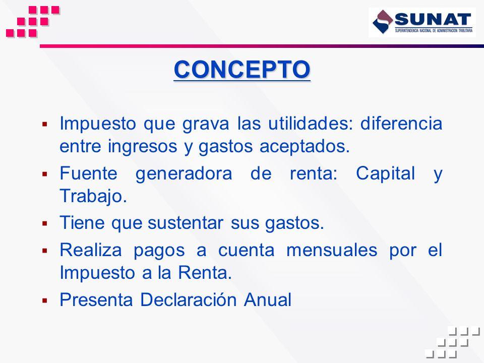 CONCEPTOImpuesto que grava las utilidades: diferencia entre ingresos y gastos aceptados. Fuente generadora de renta: Capital y Trabajo.