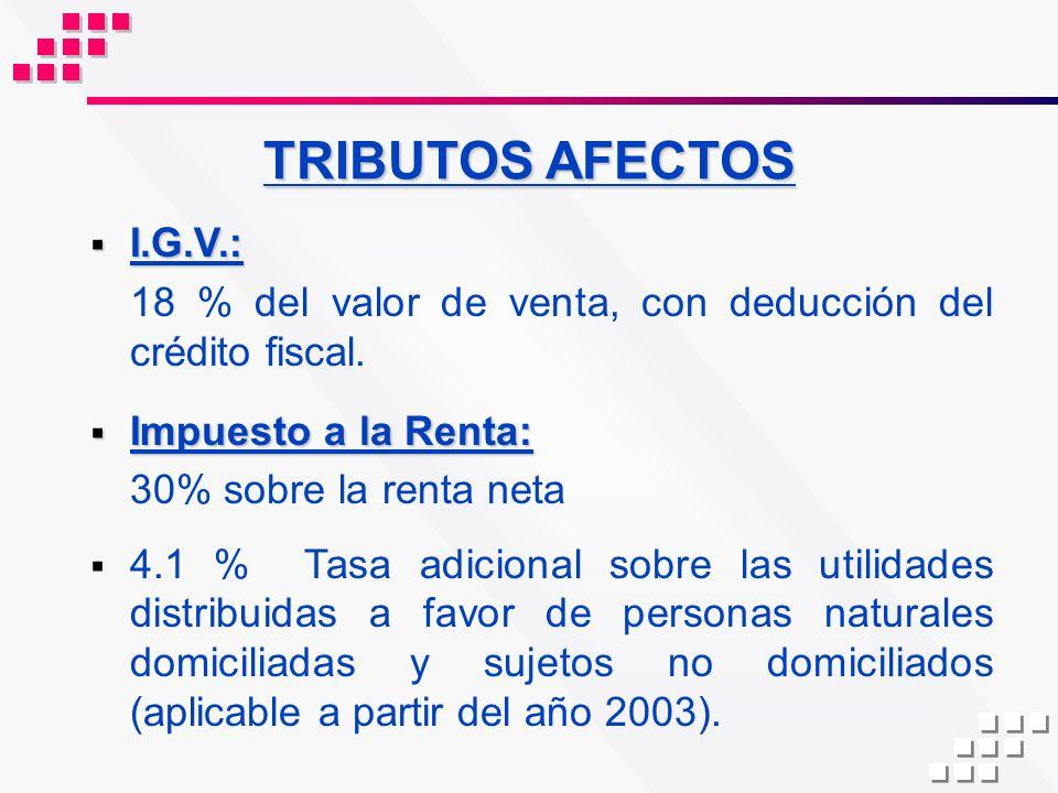 TRIBUTOS AFECTOS I.G.V.: 18 % del valor de venta, con deducción del crédito fiscal. Impuesto a la Renta: