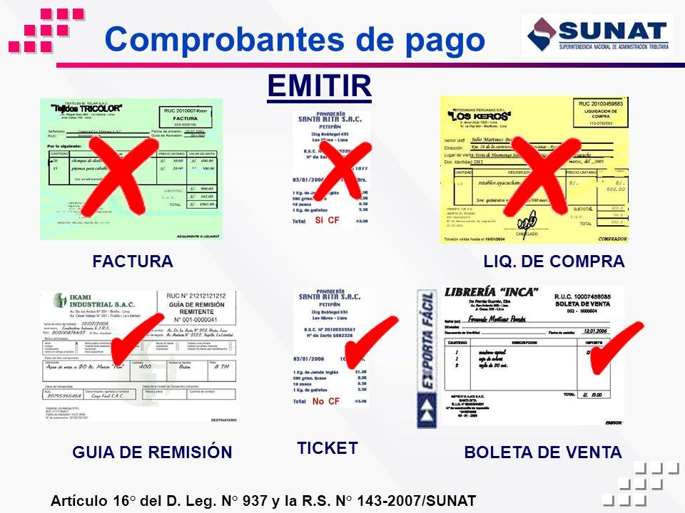 Comprobantes de pago EMITIR FACTURA LIQ. DE COMPRA GUIA DE REMISIÓN