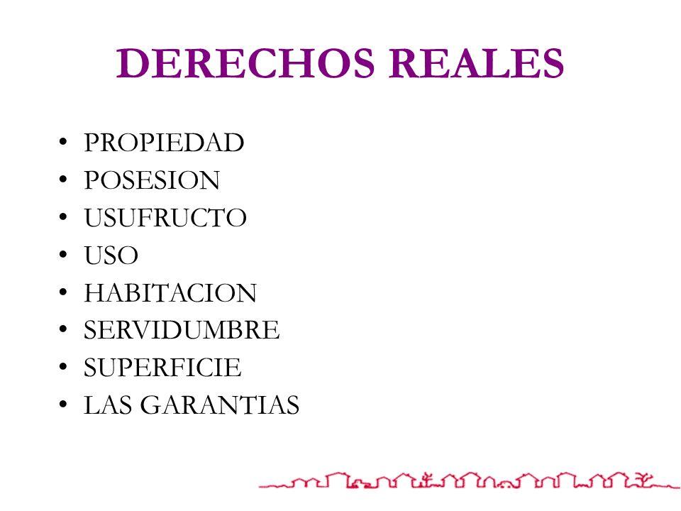 DERECHOS REALES PROPIEDAD POSESION USUFRUCTO USO HABITACION