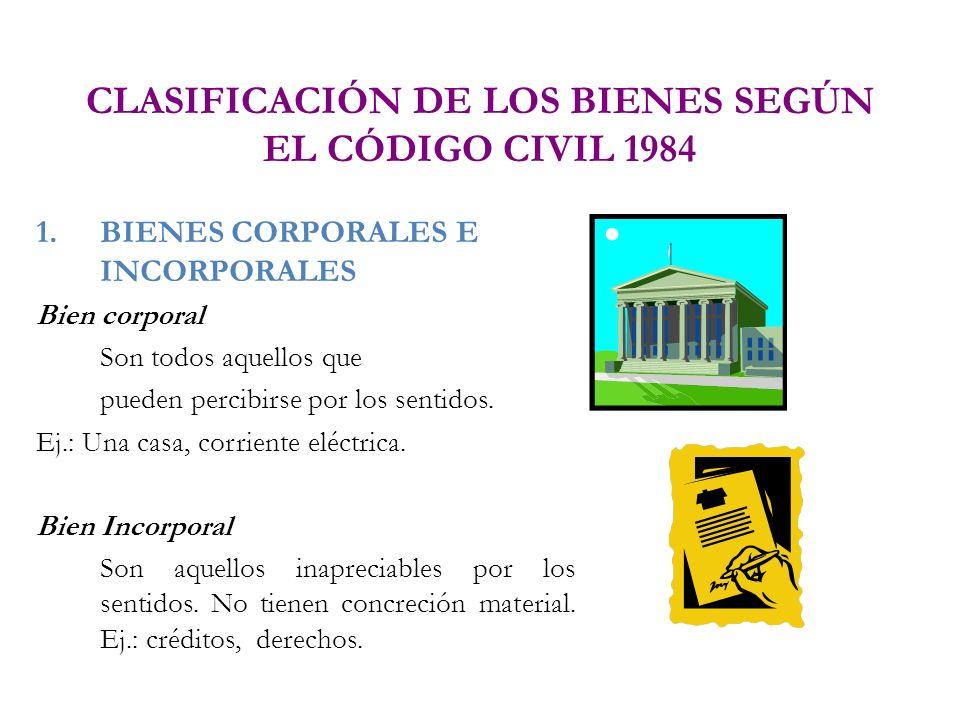 CLASIFICACIÓN DE LOS BIENES SEGÚN EL CÓDIGO CIVIL 1984