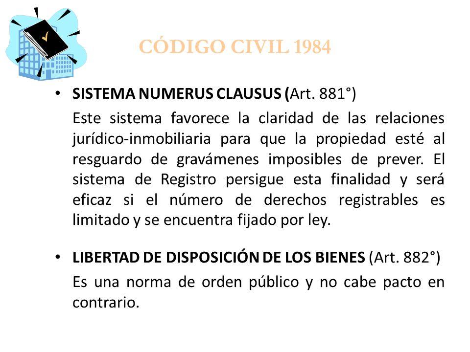 CÓDIGO CIVIL 1984 SISTEMA NUMERUS CLAUSUS (Art. 881°)