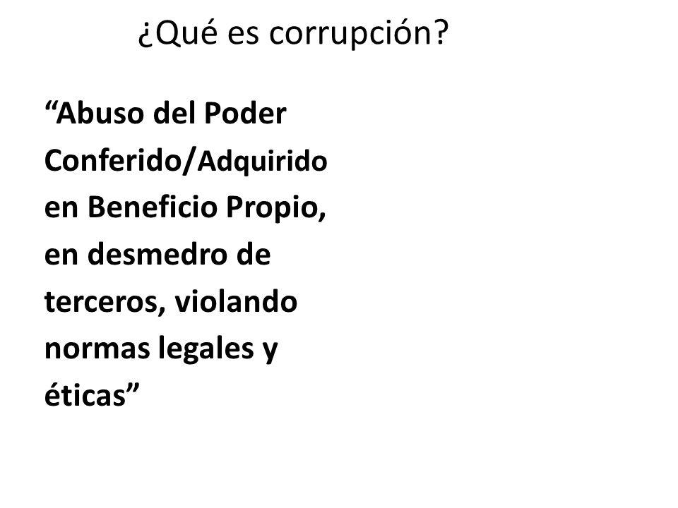 ¿Qué es corrupción Abuso del Poder Conferido/Adquiridoen Beneficio Propio, en desmedro de terceros, violando normas legales y éticas