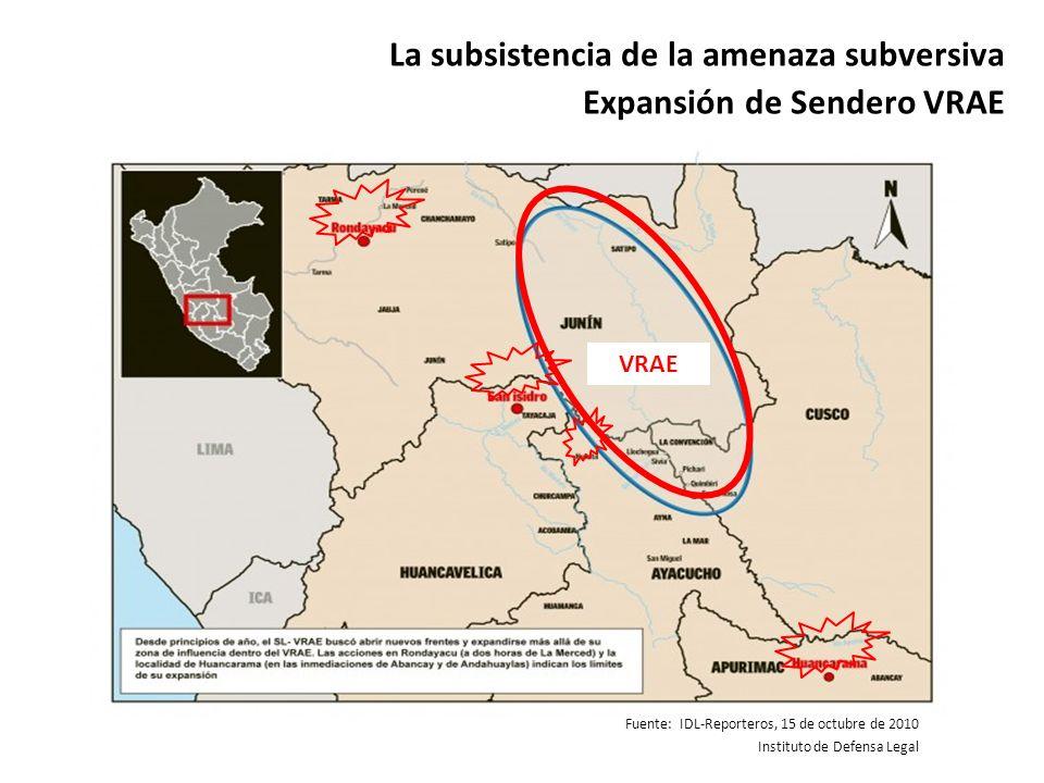 La subsistencia de la amenaza subversiva Expansión de Sendero VRAE