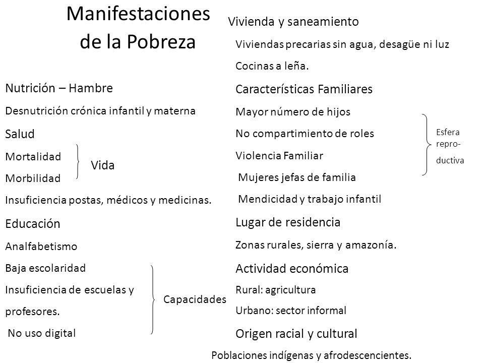 Manifestaciones de la Pobreza Características Familiares