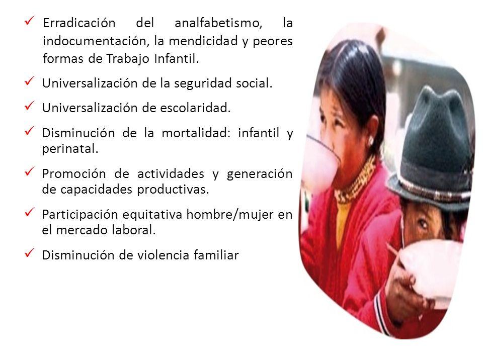 Erradicación del analfabetismo, la indocumentación, la mendicidad y peores formas de Trabajo Infantil.