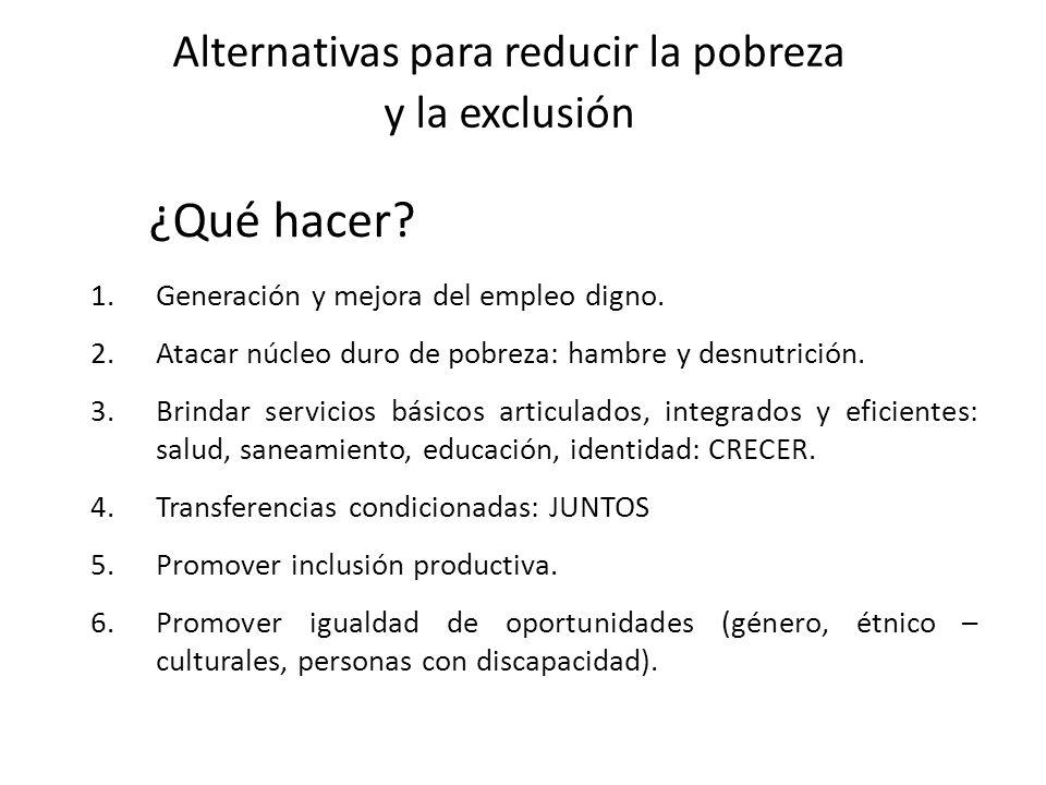 Alternativas para reducir la pobreza