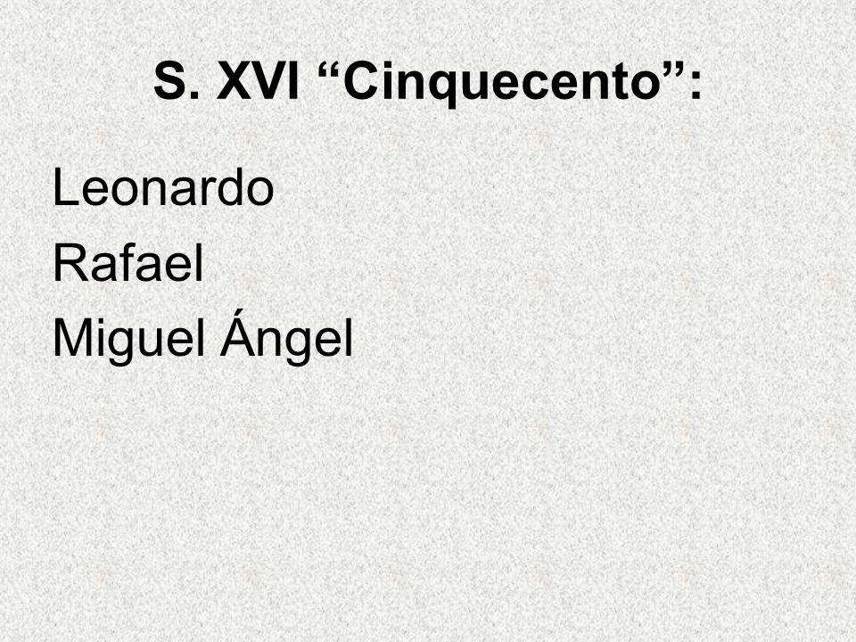 S. XVI Cinquecento : Leonardo Rafael Miguel Ángel