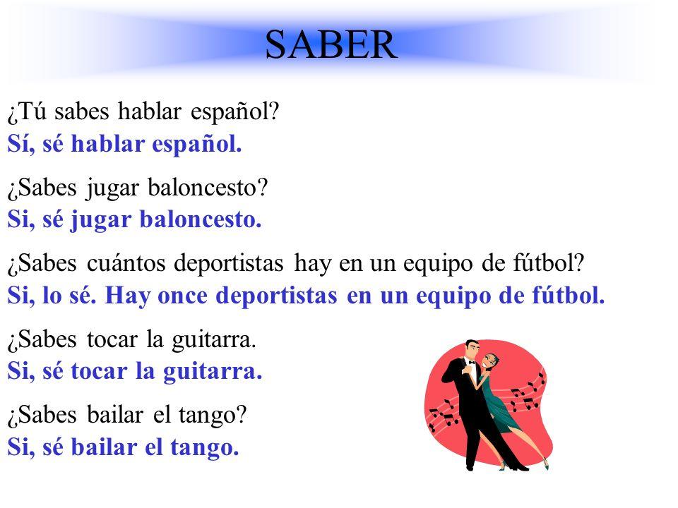 SABER ¿Tú sabes hablar español Sí, sé hablar español.