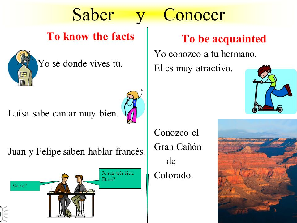 Saber y Conocer To know the facts To be acquainted