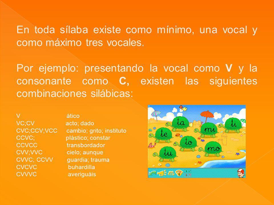 En toda sílaba existe como mínimo, una vocal y como máximo tres vocales.