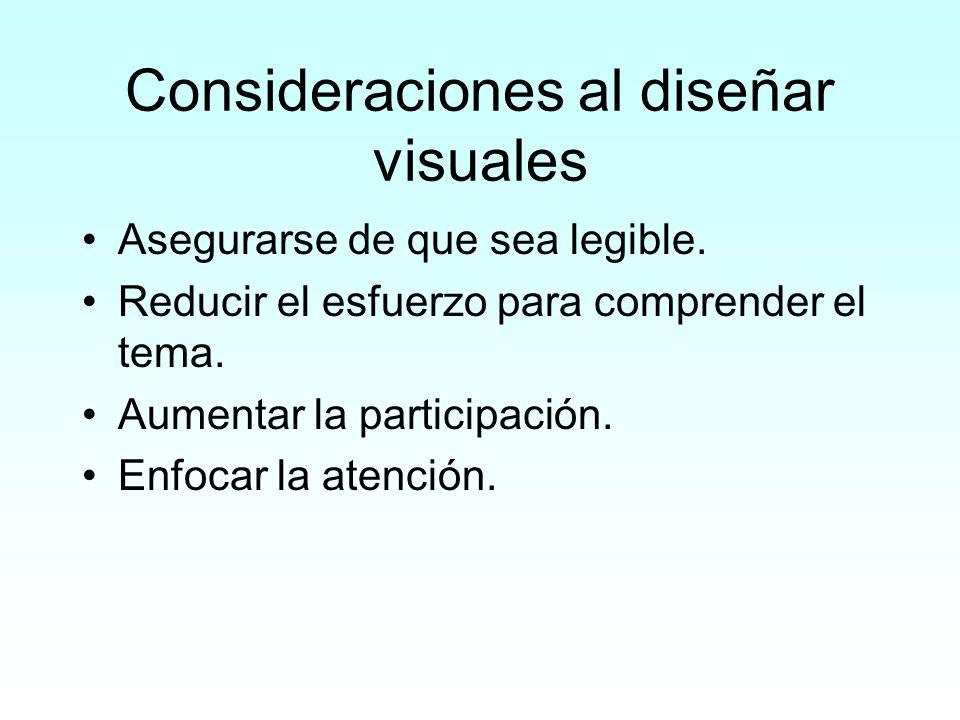 Consideraciones al diseñar visuales