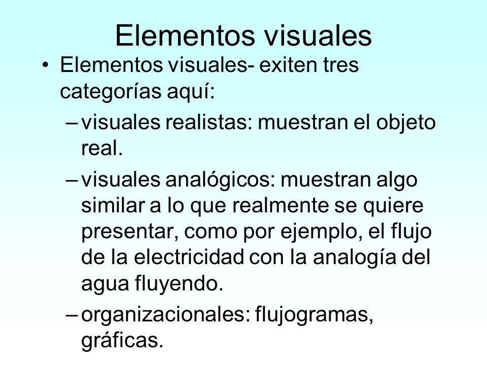 Elementos visuales Elementos visuales- exiten tres categorías aquí: