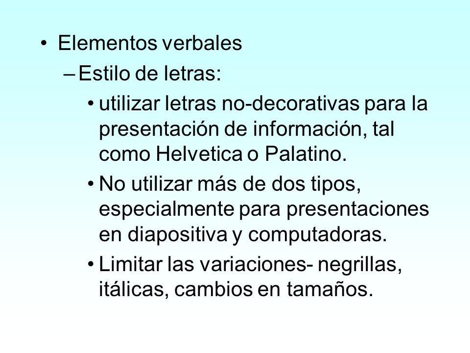 Elementos verbales Estilo de letras: utilizar letras no-decorativas para la presentación de información, tal como Helvetica o Palatino.