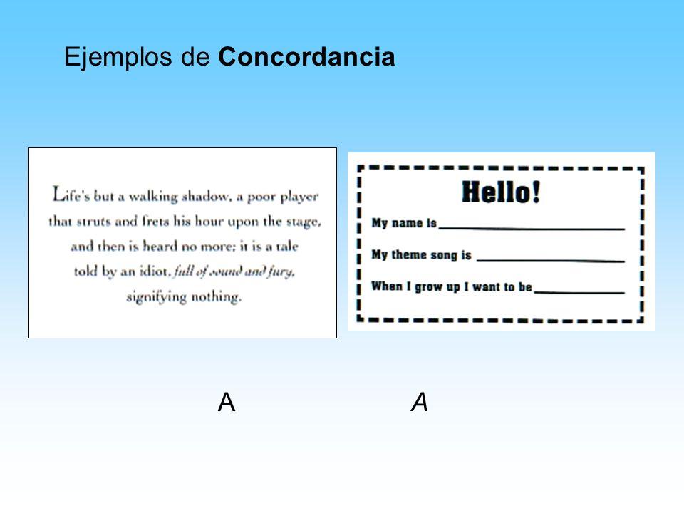 Ejemplos de Concordancia