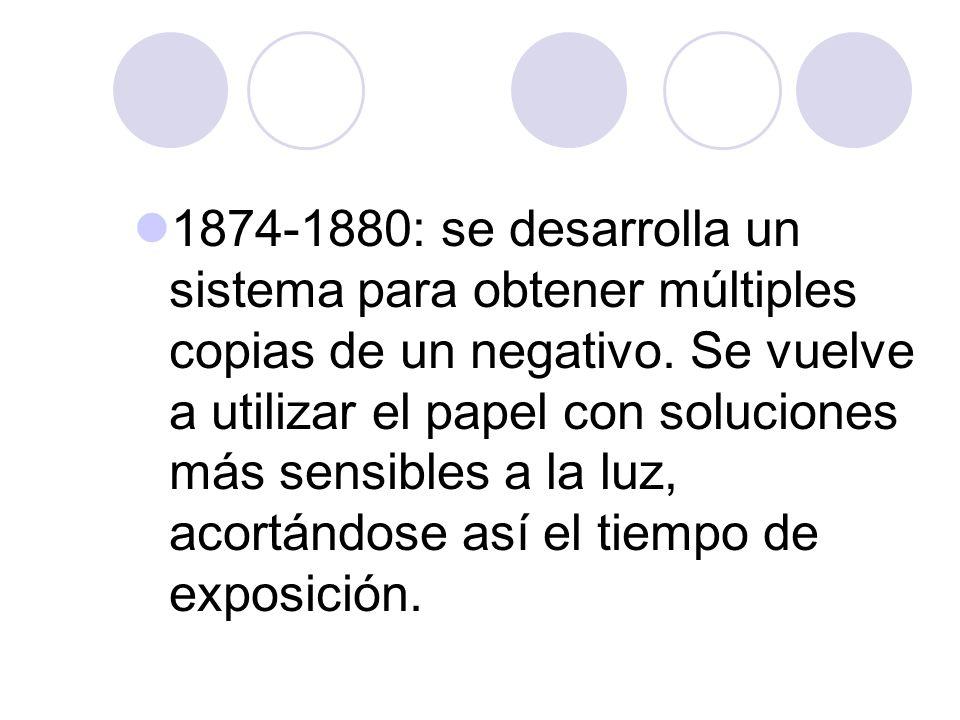 1874-1880: se desarrolla un sistema para obtener múltiples copias de un negativo.