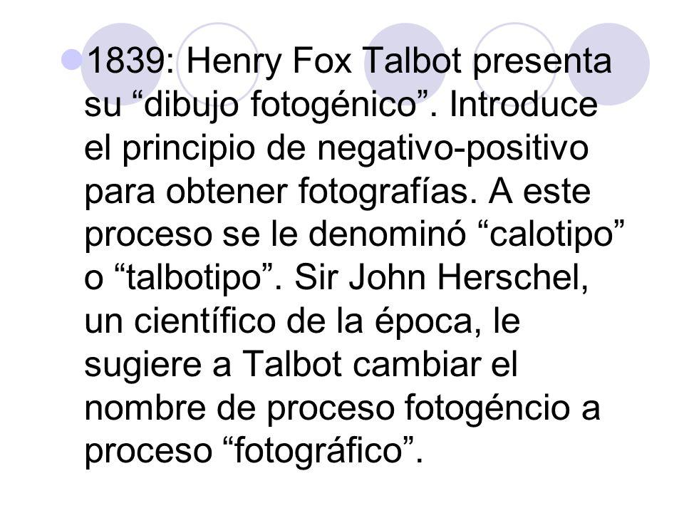 1839: Henry Fox Talbot presenta su dibujo fotogénico