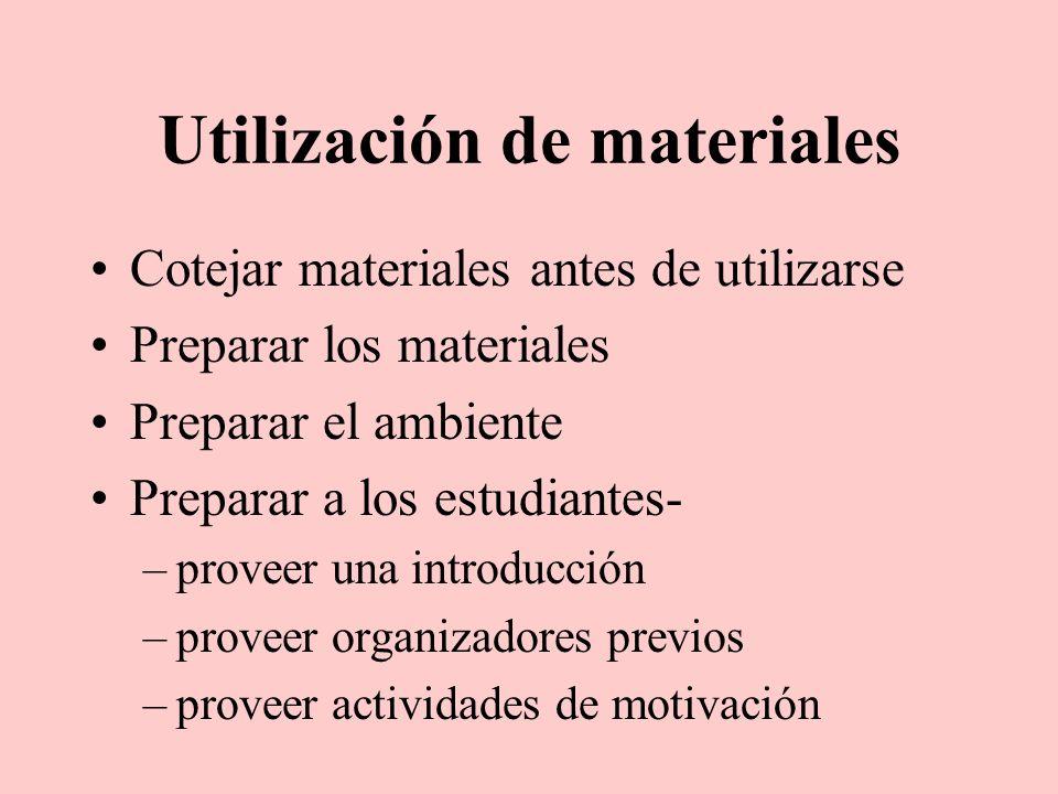 Utilización de materiales
