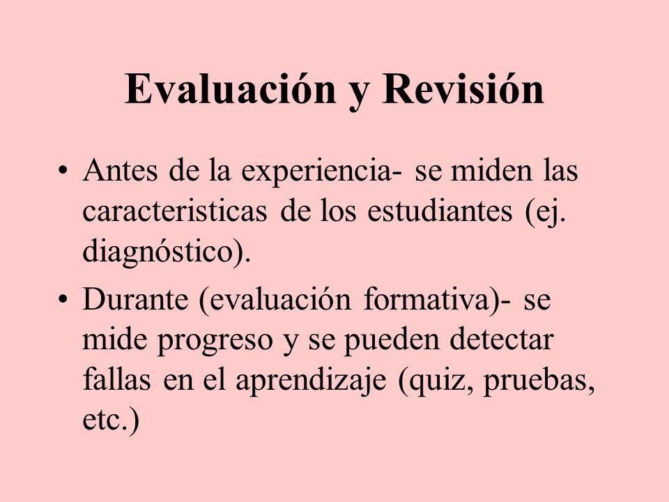 Evaluación y RevisiónAntes de la experiencia- se miden las caracteristicas de los estudiantes (ej. diagnóstico).