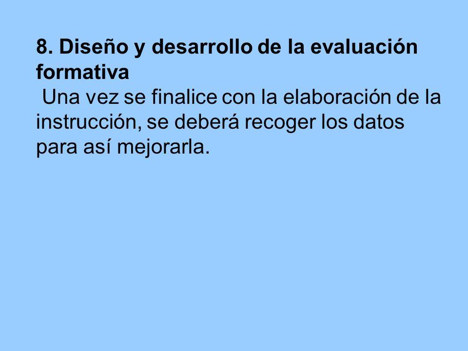 8. Diseño y desarrollo de la evaluación formativa